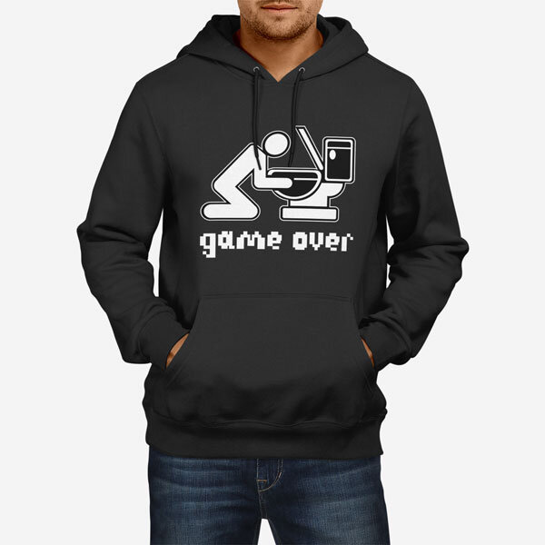 Moški pulover s kapuco Game Over Drink