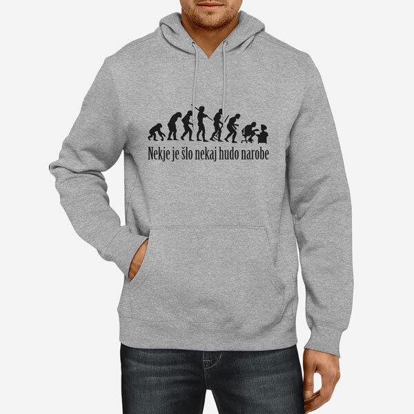 Moški pulover s kapuco Evolucija