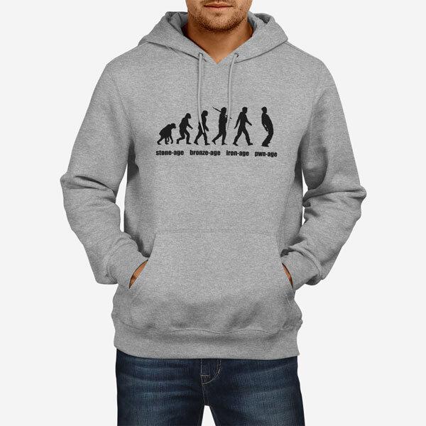 Moški pulover s kapuco Evolucija starosti