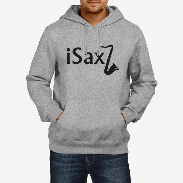 Moški pulover s kapuco Saksofon
