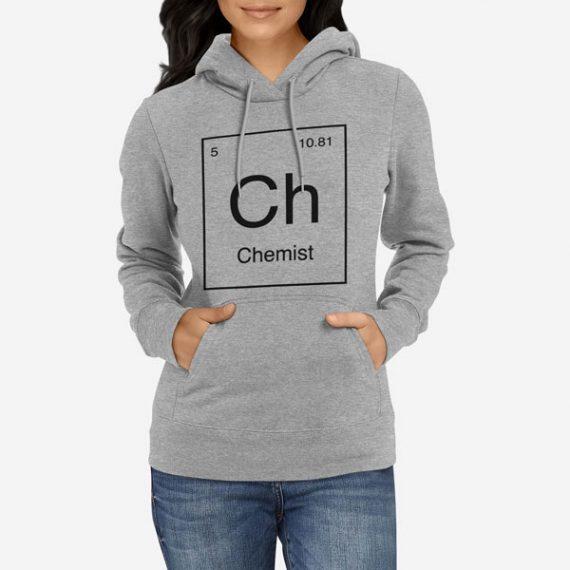Ženski pulover s kapuco Periodni element Ch