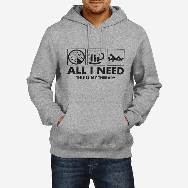 Moški pulover s kapuco Pizza beer sex