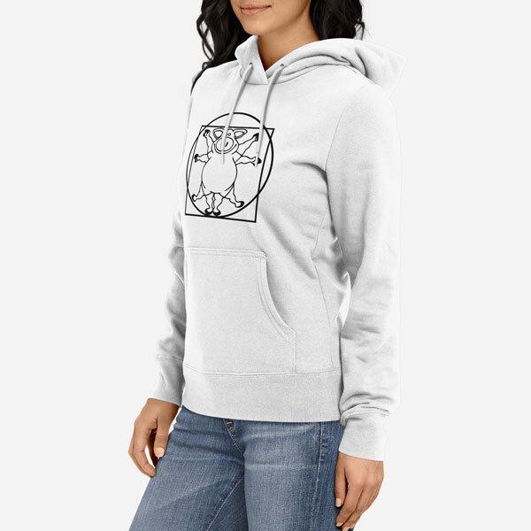 Ženski pulover s kapuco Prašič da Vinci