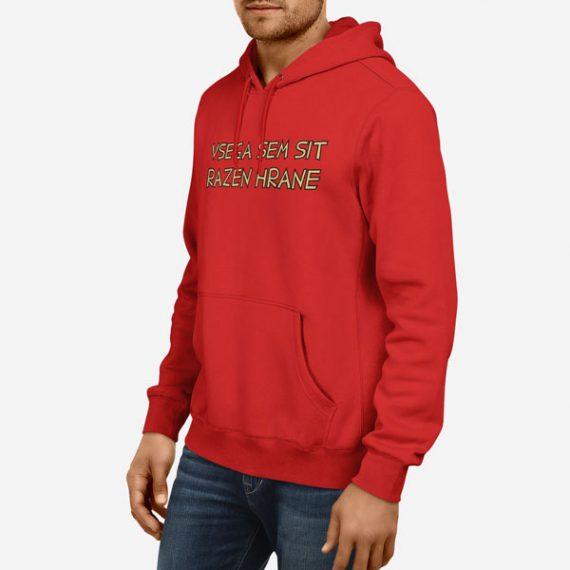 Moški pulover s kapuco Vsega sem sit razen hrane