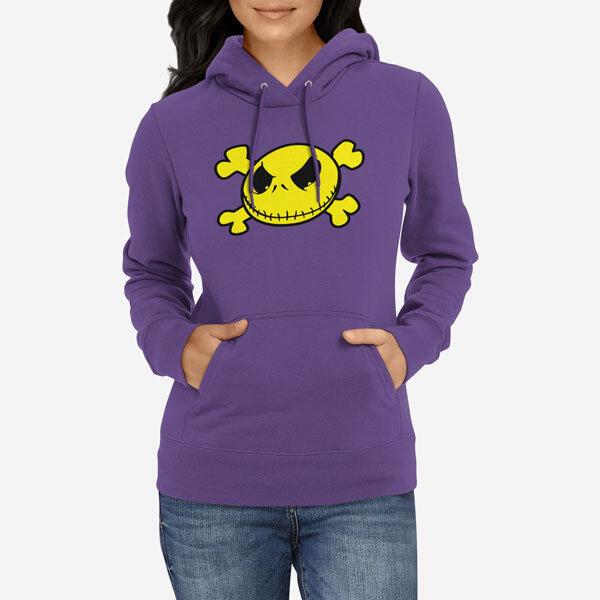 Ženski pulover s kapuco Smiley lobanja