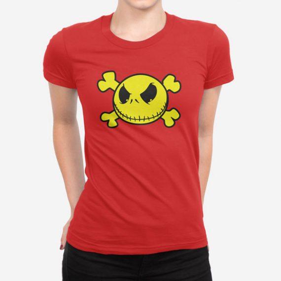 Ženska kratka majica Smiley lobanja