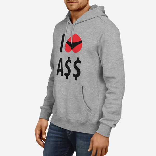 Moški pulover s kapuco I Love Ass