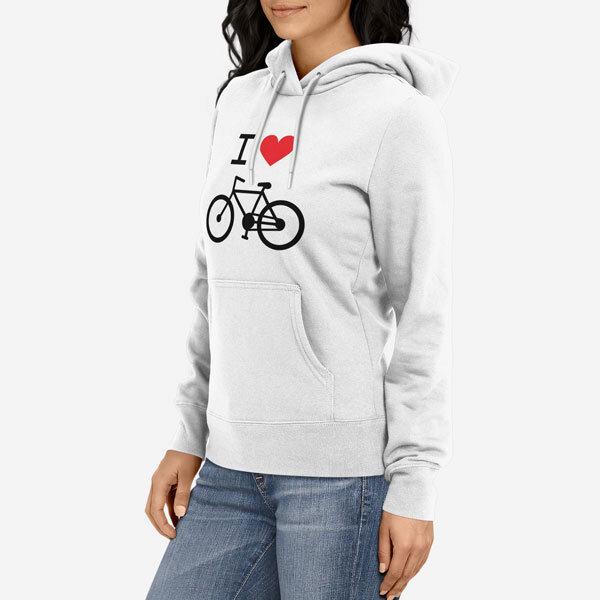 Ženski pulover s kapuco I Love Bike