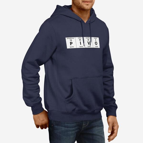 Moški pulover s kapuco Periodni element Pivo
