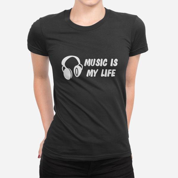 Ženska majica kratek rokav Music is my life