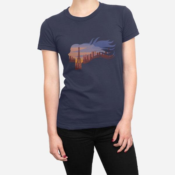 Ženska kratka majica Ženska v Parizu
