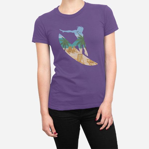 Ženska kratka majica Surfanje na plaži