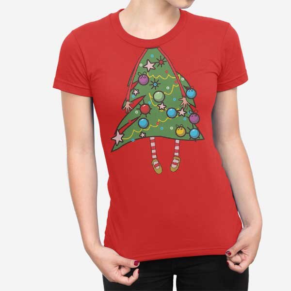 Ženska kratka majica Božično drevo