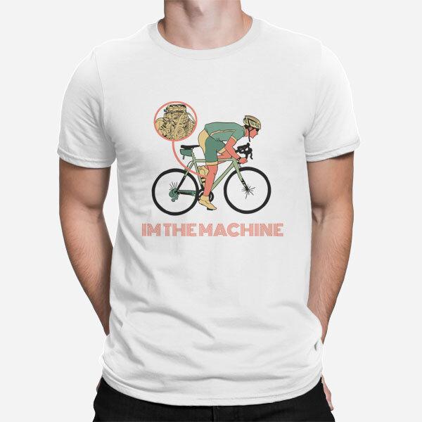 Bela moška kratka majica Motor kolesarja