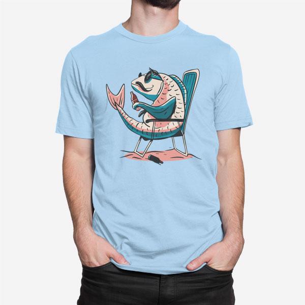 Svetlo modra moška kratka majica Krap in pivo