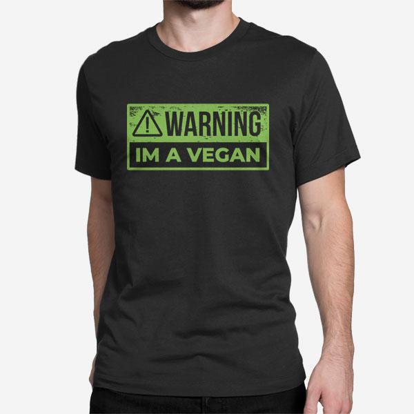 Črna moška majica kratek roka Opozorilo sem vegan