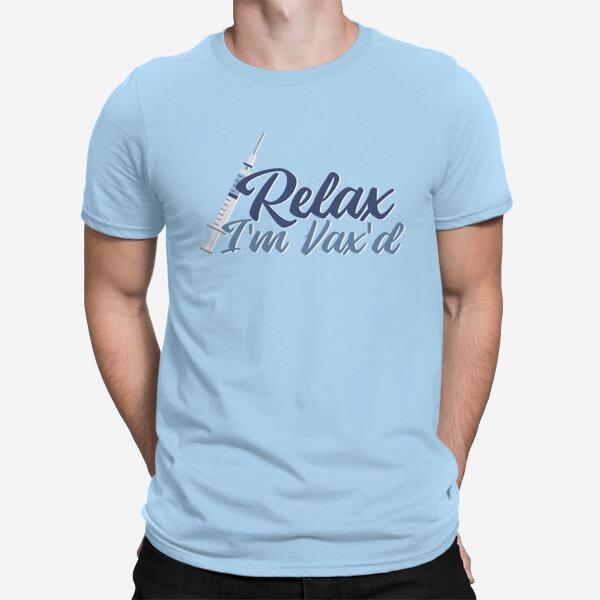 Svetlo modra moška kratka majica Sem cepljen